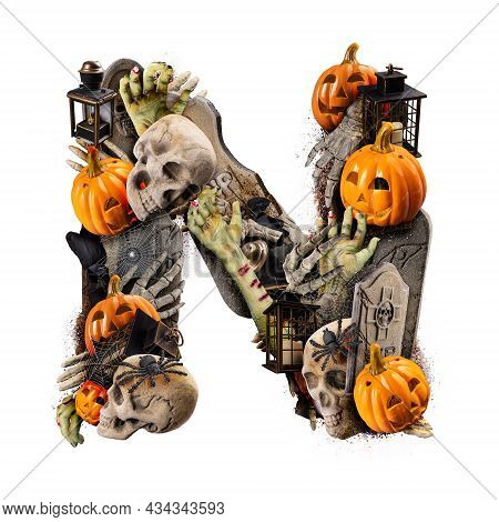 Letter N Made Of Variety Halloween Objects Isolated On White Background