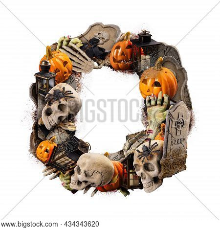 Letter O Made Of Variety Halloween Objects Isolated On White Background