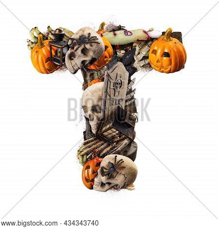 Letter T Made Of Variety Halloween Objects Isolated On White Background