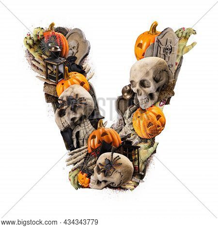 Letter V Made Of Variety Halloween Objects Isolated On White Background