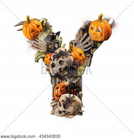 Letter Y Made Of Variety Halloween Objects Isolated On White Background