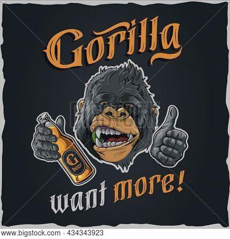Gorilla Want More - Illustration For Tshirt Vector Vector