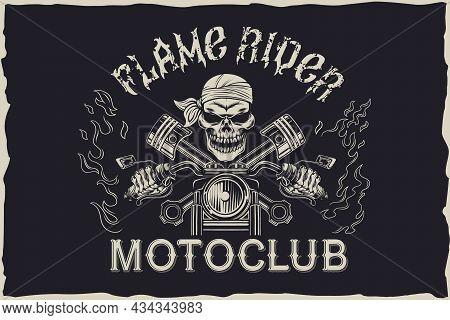 Flame Rider Motoclub Emblem Design Vector Vector