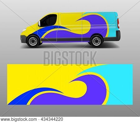 Graphic Abstract Wave Designs For Wrap Vehicle, Race Car, Branding Car. Pick Up Truck And Cargo Van