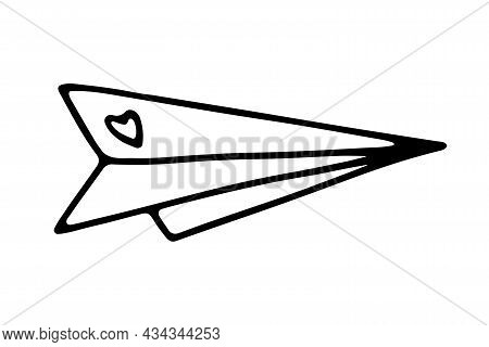 Doodle Paper Airplane With Heart. Hand-drawn Outline Origami Plane Isolated On White Background. Sig