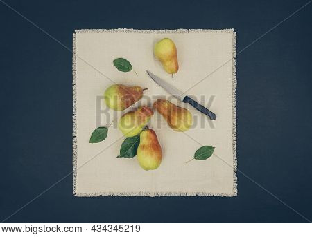 Autumn Pears. Healthy Raw Vegan Food. Healthy Lifestyle. Ripe Juicy Pears On The Table. Fall. Top Vi