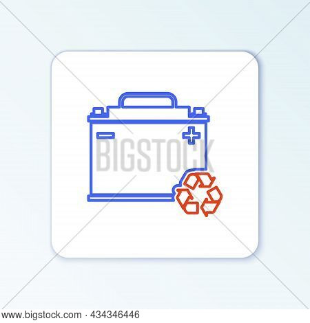 Line Car Battery With Recycle Icon Isolated On White Background. Accumulator Battery Energy Power An