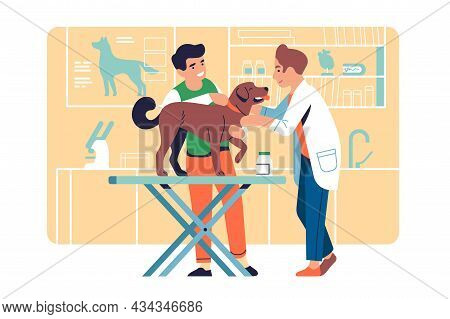 Veterinarian Examining Pet. Doctor Treats Dog. Animal Helping Service. Owner With Puppy In Clinic. S
