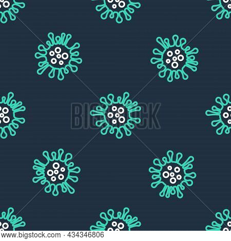 Line Bacteria Icon Isolated Seamless Pattern On Black Background. Bacteria And Germs, Microorganism