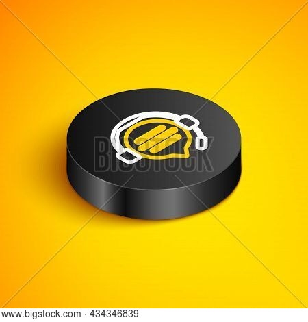 Isometric Line Headphones With Speech Bubble Chat Icon Isolated On Yellow Background. Support Custom