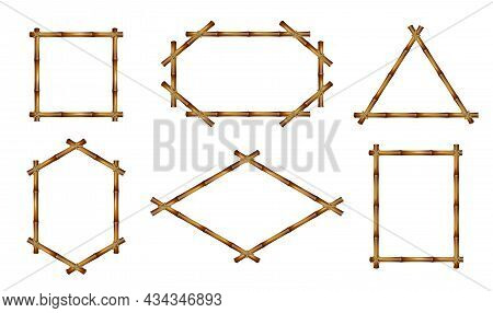 Bamboo Frames. Realistic Natural Rustic Decor, Brown Construction From Stems, Different Shapes Woode