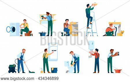 Repair Service Workers. Interior Renovation. People With Tools. Electricians And Plumbers Fix Damage