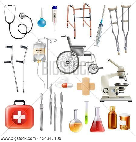 Healthcare Medical Accessories And Equipment Flat Icons Collection With Walking Aids Crutches And Sc