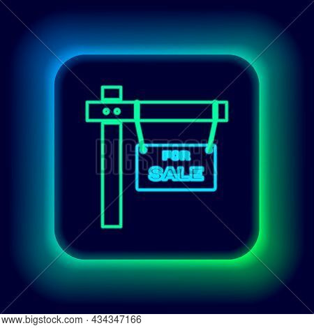 Glowing Neon Line Hanging Sign With Text For Sale Icon Isolated On Black Background. Signboard With