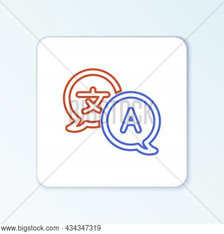 Line Translator Icon Isolated On White Background. Foreign Language Conversation Icons In Chat Speec