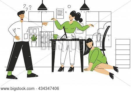 Colleagues In The Office. A Woman Is Hiding From An Angry Boss. An Angry, Dissatisfied Angry Boss. A