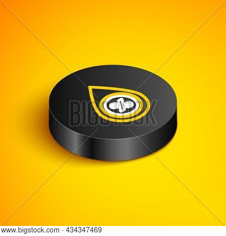 Isometric Line Water Drop Percentage Icon Isolated On Yellow Background. Humidity Analysis. Black Ci
