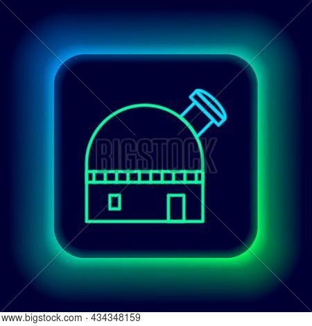 Glowing Neon Line Astronomical Observatory Icon Isolated On Black Background. Colorful Outline Conce