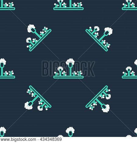Line Mold Icon Isolated Seamless Pattern On Black Background. Vector