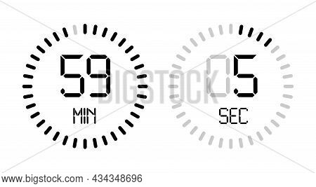 Digital Number Clock Time Countdown Vector Minute Second Isolated Timer