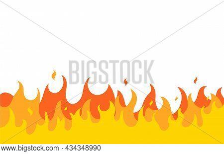 Fire Flame Vector Pattern Line Frame. Fire Flat Simple Border Design Background Illustration