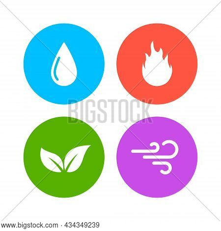 Vector Four Elements Air Water Fire Earth Symbol Logo. Nature Abstract Design Concept Four Element