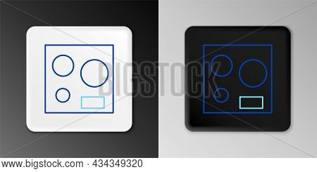Line Electric Stove Icon Isolated On Grey Background. Cooktop Sign. Hob With Four Circle Burners. Co