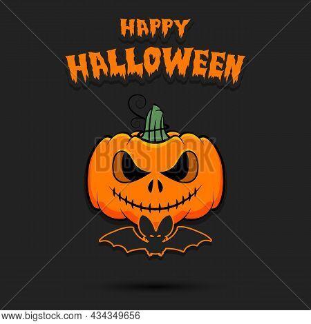 Happy Halloween. Halloween Pumpkin And Bat