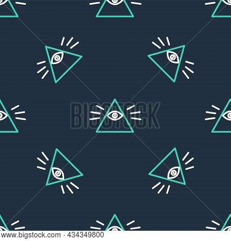 Line Masons Symbol All-seeing Eye Of God Icon Isolated Seamless Pattern On Black Background. The Eye