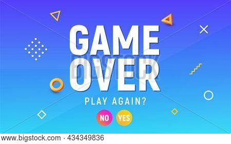 Game Over Vector Video Game Screen Background. Geometric Game Over Design Banner