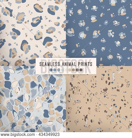 Seamless Animal Pattern. Cheetah Leather Repeats In Blue And Beige Colors. Graphic Collection Of Ani