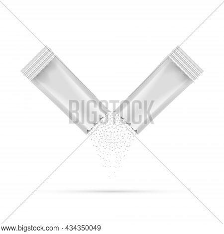 Sugar Pour Powder Stick Broken Packet Falling. Sugar Bag Package Icon Vector Mockup