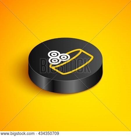 Isometric Line Tin Can With Caviar Icon Isolated On Yellow Background. Black Circle Button. Vector