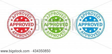 Approved Grunge Stamp. Vector. Approval Badge. Accepted Round Ink Sticker. Retro Seal Imprint. Confi