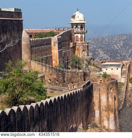 Amber Or Amer Fort Near Jaipur City, Detail From Upper Part Of Fortress, Rajasthan, India
