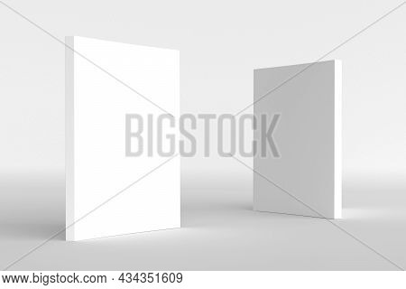 Book Cover White Mockup 3d Render Illustration. Closed Clear Notepad With Realistic Light And Shadow