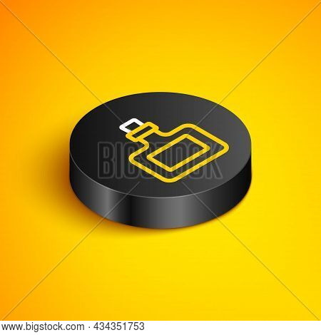 Isometric Line Sauce Bottle Icon Isolated On Yellow Background. Ketchup, Mustard And Mayonnaise Bott