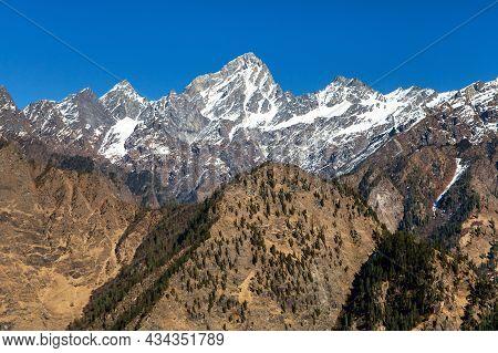 Himalaya, Panoramic View Of Indian Himalayas, Great Himalayan Range, Uttarakhand India