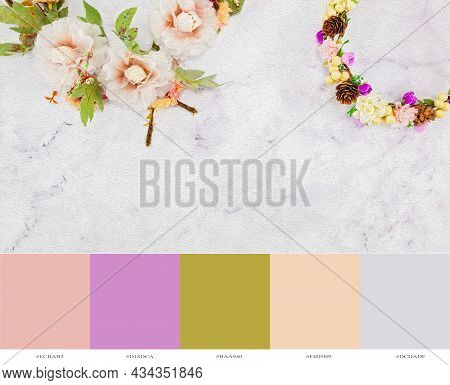 Colorful Flowers On A Marble Background Rendered As An Oil Painting In Photo Editing, Copy Space For