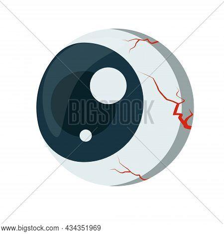 Eye. Halloween Style Eyeball Element Drawing. Eyeball With Capillaries Isolated On White Background.
