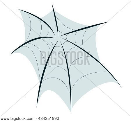 Vector Drawing Of A Spider Web Isolated On A White Background. A Decorative Element In The Form Of A