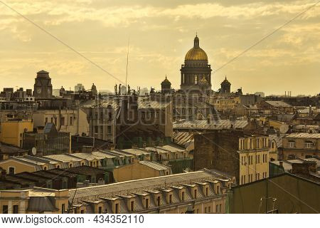 Saint-petersburg, Russia. 04 June 2018. View From The Roof On The St. Isaac's Cathedral In St. Peter