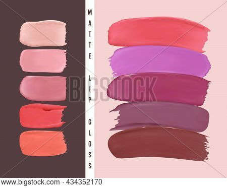 Lipstick Samples. Abstract Design With Color Nail Splashes. Lipstick Smear Illustration. Vector Cosm