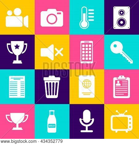 Set Television Tv, Clipboard With Resume, Key, Thermometer, Speaker Mute And Trophy Cup Icon. Vector
