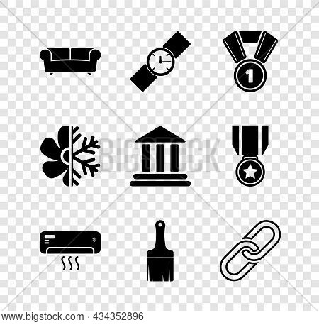 Set Sofa, Wrist Watch, Medal, Air Conditioner, Paint Brush And Chain Link Icon. Vector