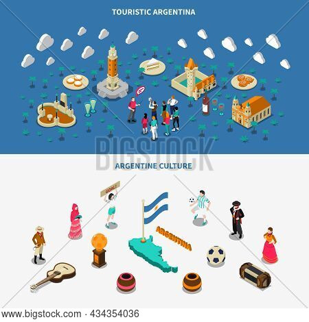 Argentina Culture And Attractions For Travelers 2 Isometric Banners Set With Historic Obelisk Monume