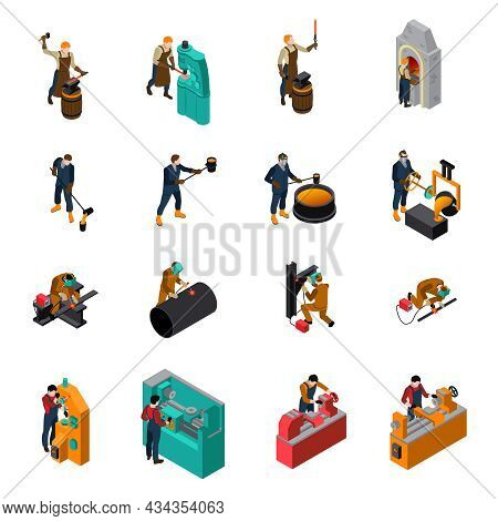 Metalworking Process Equipment Tools And Machinery Isometric Icons Collection With Blacksmith Forgin