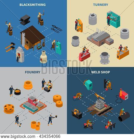 Metalworking 4 Isometric Icons Square Composition With Blacksmith Shop Foundry And Turner Facilities