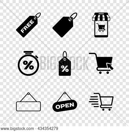 Set Price Tag With Free, Label Template Price, Mobile And Shopping Cart, Signboard Hanging, Hanging