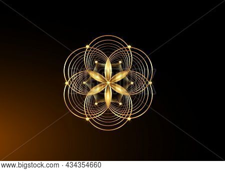 Seed Of Life Symbol Sacred Geometry. Gold Logo Icon  Geometric Mystic Mandala Of Alchemy Esoteric Fl